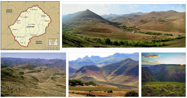 Lesotho: geography, map